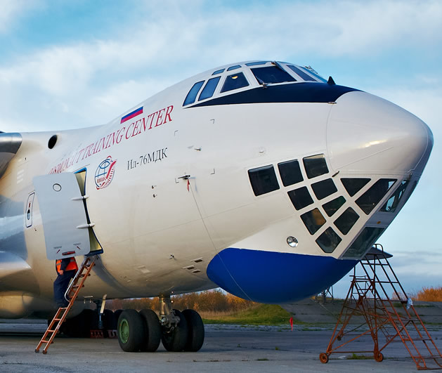 Ilushin IL-76 airplane used in zero-g flights